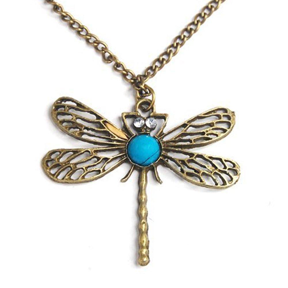 Classic vintage Bronze dragonfly pendant necklace chain JewelrieShop 1504-036-01
