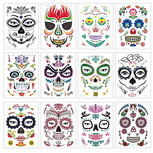 Halloween Sugar Rose Skull Face Tattoo, Temporary Tattoo Stickers Kit, For Men Women Party Masquerade Costume 12 Sheets -