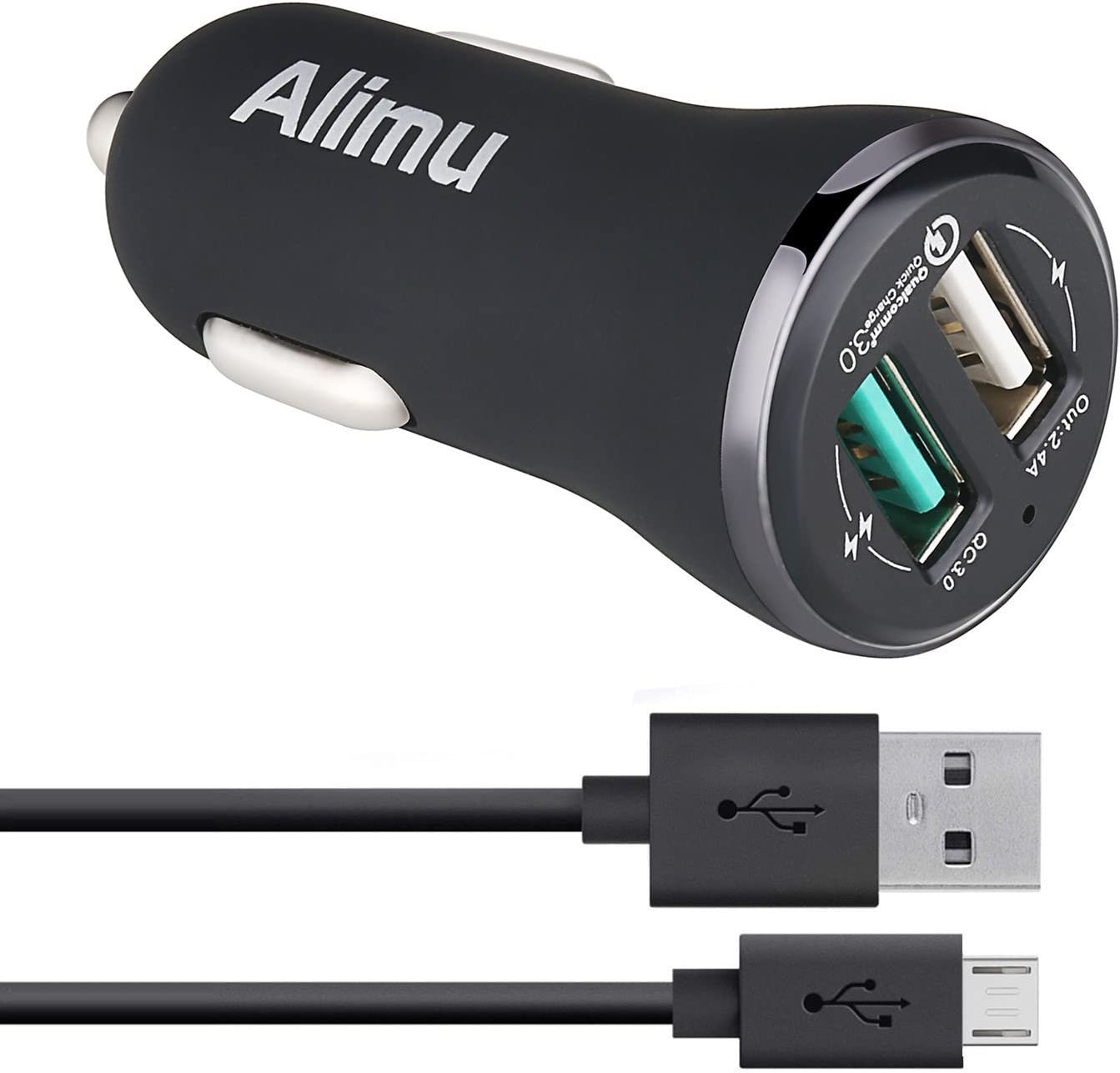 Samsung Galaxy S6 S7 Edge Plus Active Fast Car Charger,Alimu [Quick Charge 3.0] Rapid Charging Adapter for S6 S7,Note 5,HTC One M9 M8 A9,LG V10 G4,Sony,Moto,ASUS Phone with Micro-USB Cable