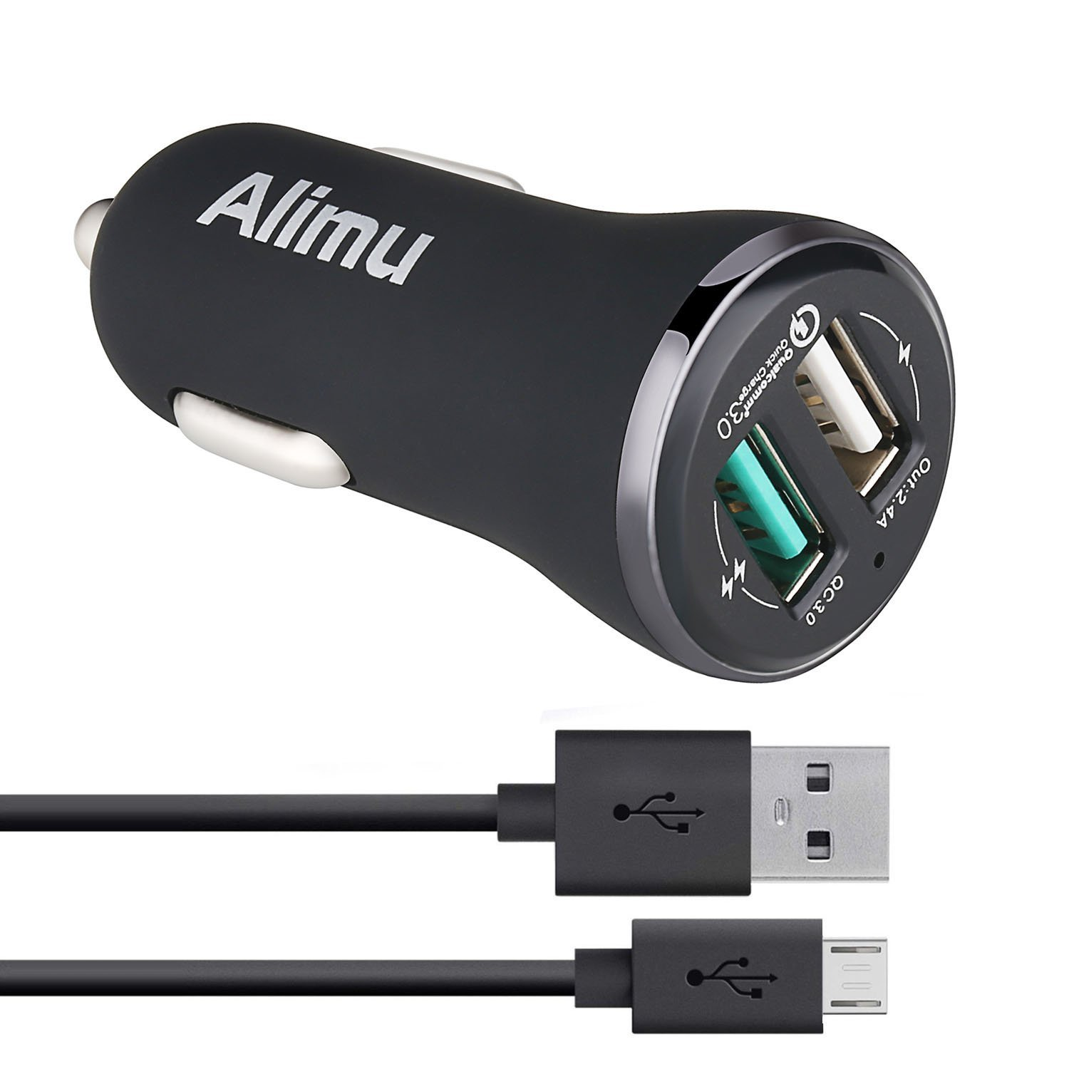 Samsung Galaxy S6 S7 Edge Plus Active Fast Car Charger,Alimu [Quick Charge 3.0] Rapid Charging Adapter for S6 S7,Note 5,HTC One M9 M8 A9,LG V10 G4,Sony,Moto,ASUS Phone with Micro-USB Cable by Alimu