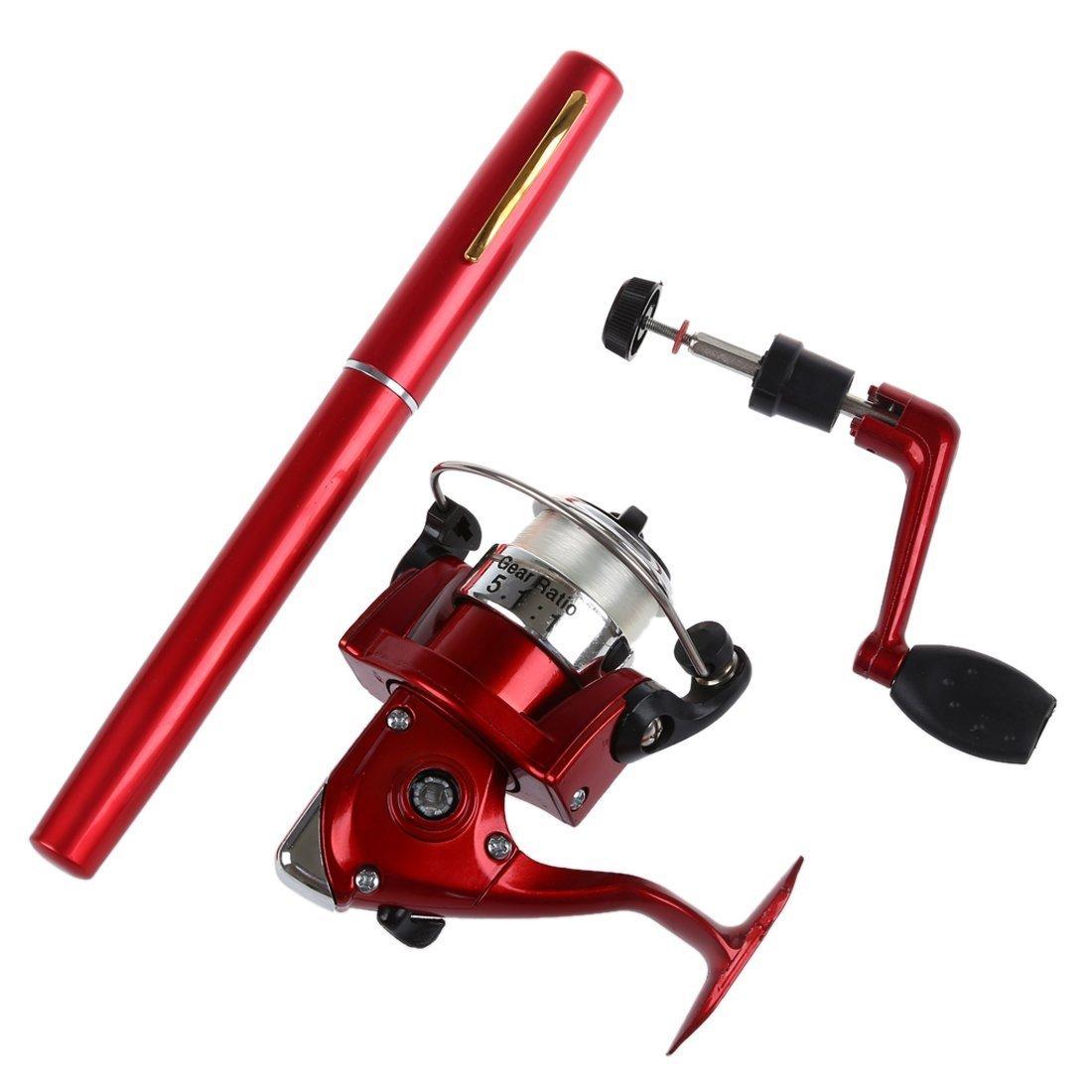 R Aufroller Rote SODIAL Neu Mini Aluminium Angelrute Pocket Pen Angelrute Rod Pole