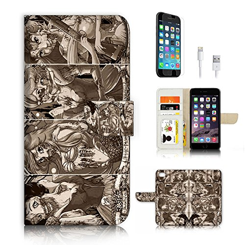 - ( For iPhone 6 / iPhone 6S ) Flip Wallet Case Cover & Screen Protector & Charging Cable Bundle! A3245 Zombie Princess