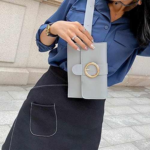 Fanny Women Pure Waist Simple Domybest PU Shoulder Handbags Chest Leather Hasp Pack Grey SEwYqq