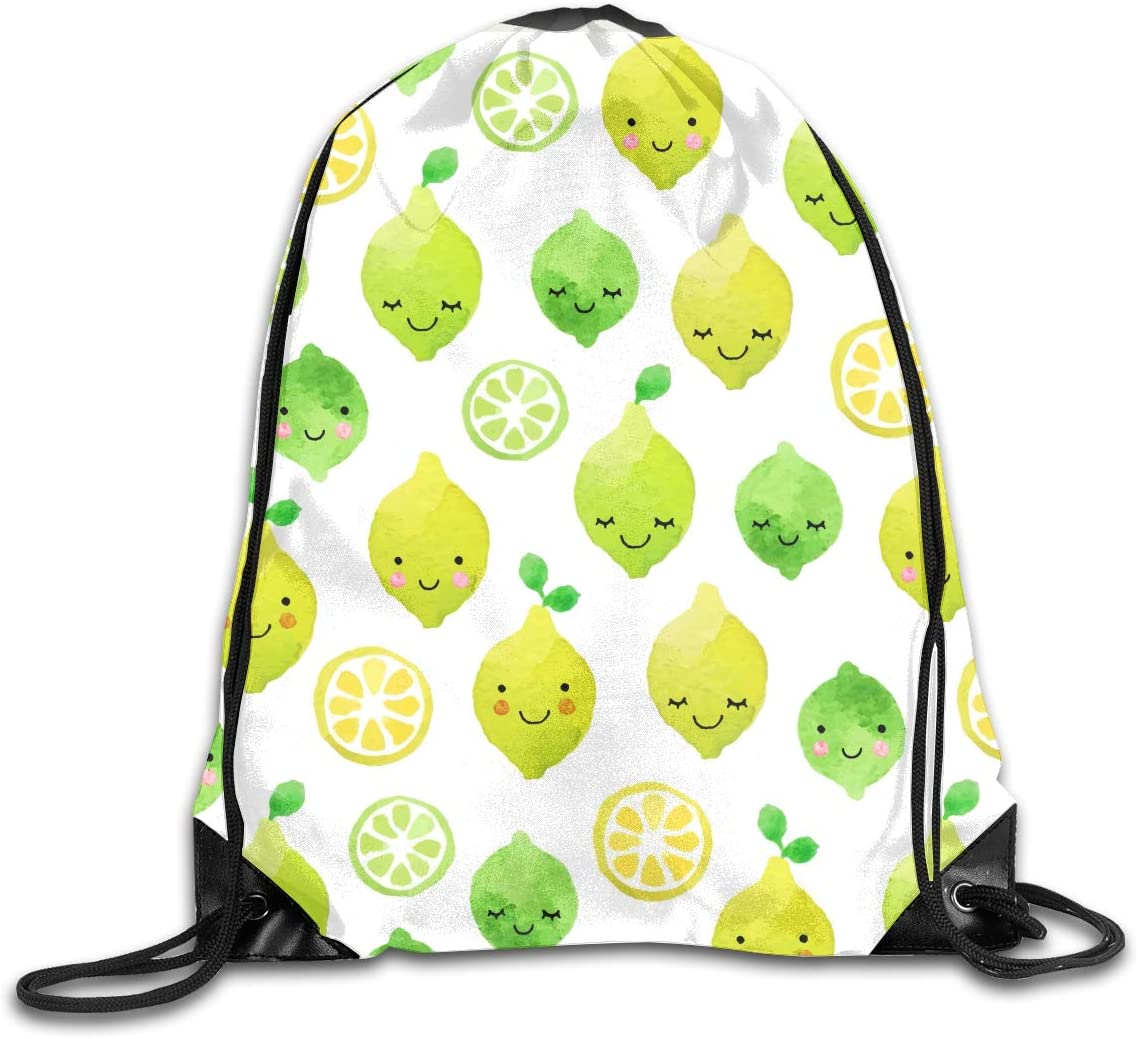 CoolStuff Travel Shoe Bags,Lemon Watercolor Drop Drawstring Backpack Hiking Climbing Gym Bag,Large Big Durable Reusable Polyester Footwear Protection