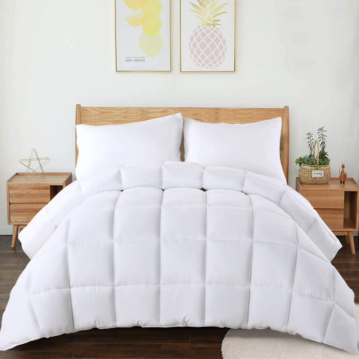 CHOKIT All Season King Comforter Soft Quilted Down Alternative Duvet Insert with Corner Loops,Box Stitched Reversible Fluffy Hotel Collection, White, 102 X 90 Inches