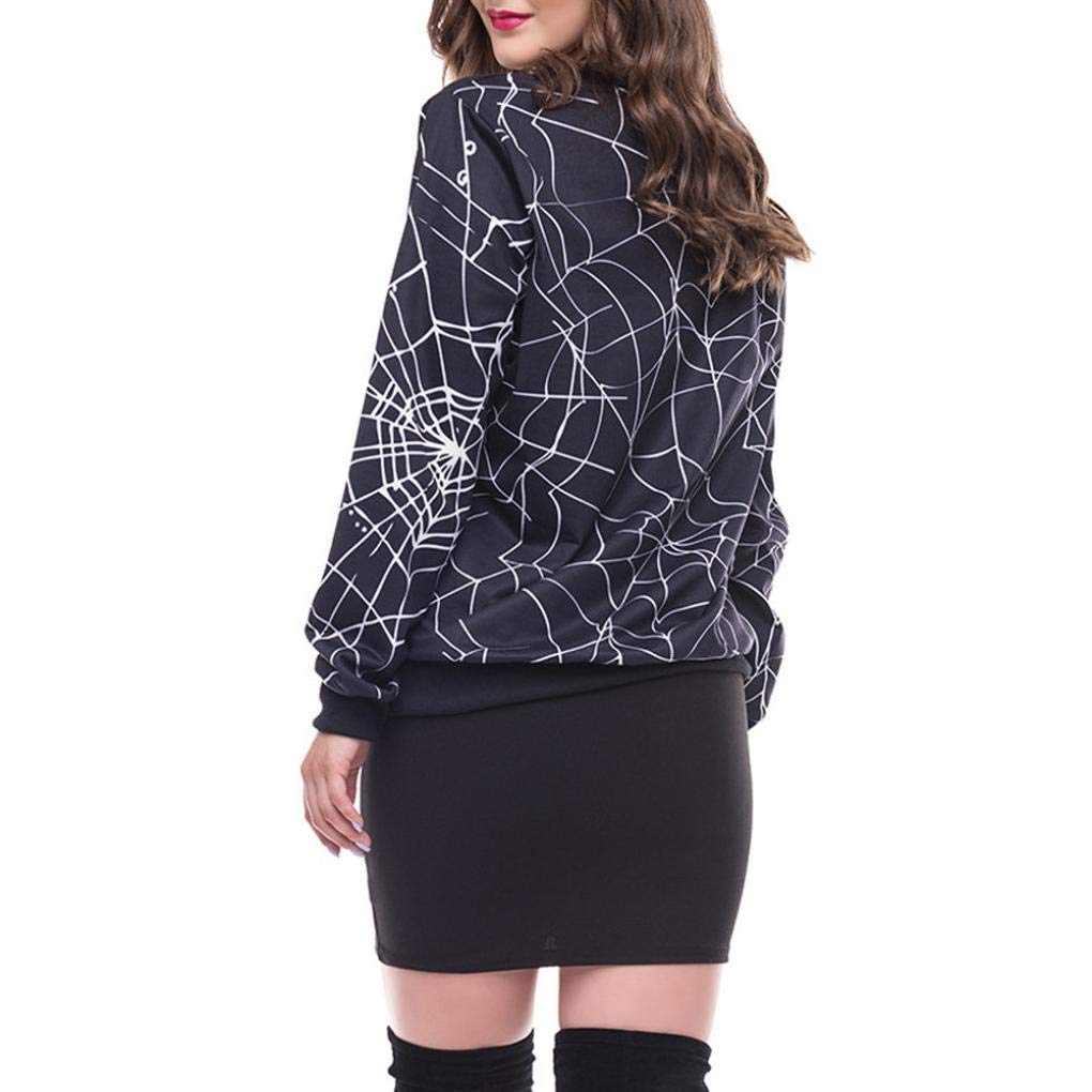 Nuoinet Clearance Women Halloween Spider Web 3D Print Sweatshirt Pullover Pocket Long Sleeve Casual Tops (M, Black) by Nuoinet Clearance (Image #2)