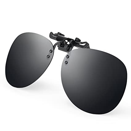 fa2c4509af Amazon.com  Costyle Black Grey Retro Polarized Clip on Flip up Plastic  Sunglasses Driving Fishing Traveling  Sports   Outdoors