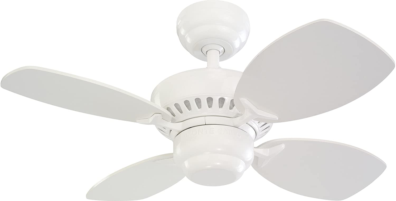 Monte Carlo 4CO28WH Colony II 28 Ceiling Fan for Small Space, 4 Blades, White