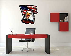 """GT Graphics Bald Eagle American Flag - 26"""" - Wall Decal Large Vinyl Sticker Decor"""
