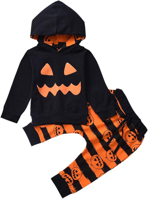 WANGSCANIS Conjunto de ropa para ni/ños peque/ños y ni/ñas con capucha de calabaza con estampado de calabaza y pantalones