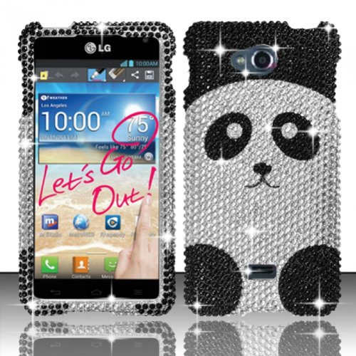 LG Spirit 4G MS870 Case Lavishing Panda Design Hard Flashy Crystal Stones Diamond Cover Protector (Metro Pcs) with Free Car Charger + Gift Box By Tech Accessories (Lg Metro Phone Pcs Spirit Cases)