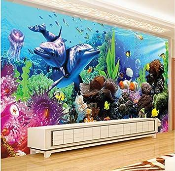 Rureng Fondos De Fotos Personalizados 3D Gran Mural Bajo El Agua Mundo Acuario 3D Estéreo Peces Tropicales Tv Mural De Papel Mural-120X100Cm: Amazon.es: ...