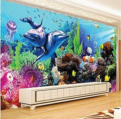 Rureng Fondos De Fotos Personalizados 3D Gran Mural Bajo El Agua Mundo Acuario 3D Estéreo Peces