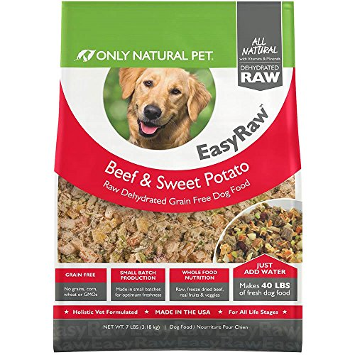 Only Natural Pet EasyRaw Human Grade Dehydrated Raw Dog Food Formula That Contains Real Wholesome Nutrition, Low Glycemic, Non-GMO - Beef & Sweet Potato Flavor - 7 lb Bag (Makes 40 lbs) (Raw Pet Foods)