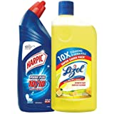 Lizol Disinfectant Surface & Floor Cleaner, Citrus - 975 ml + Harpic Powerplus Disinfectant Toilet Cleaner, Original - 1 L