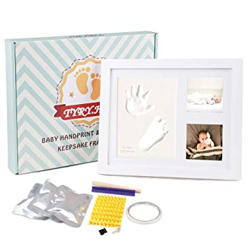Wall//table Box Ready for Boy Girls Baby Shower Gifts Premium Casting No Mold Clay Baby Handprint /& Footprint Photo Frame Kit Newborn Keepsake Personalized Picture Frames Free Stamp Set- Wood