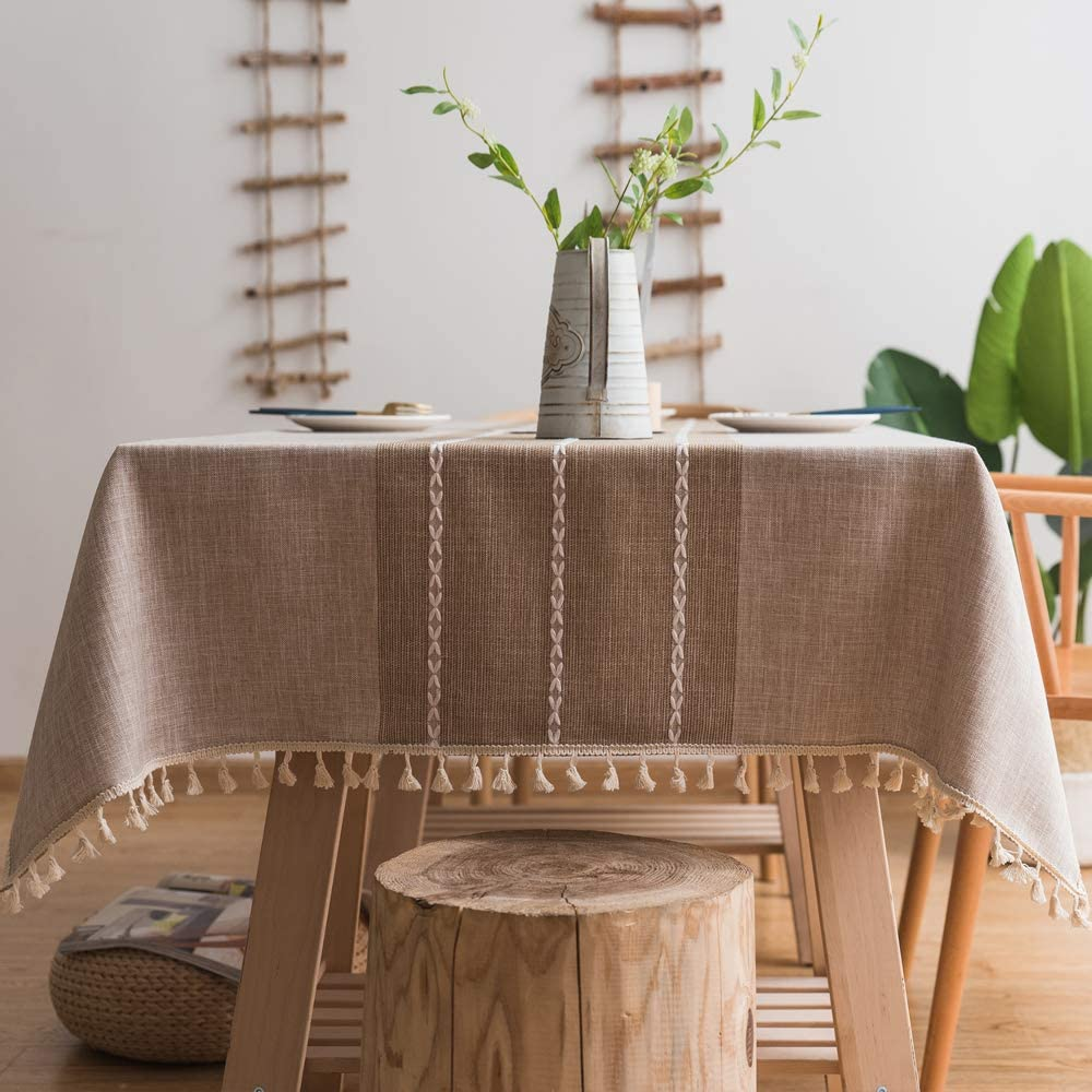 Lamberia Cotton Linen Tablecloths with Tassel for Rectangle Tables Heavyweight Burlap Table Cover for Kitchen Dinning Tabletop Decoration (Beige, 55