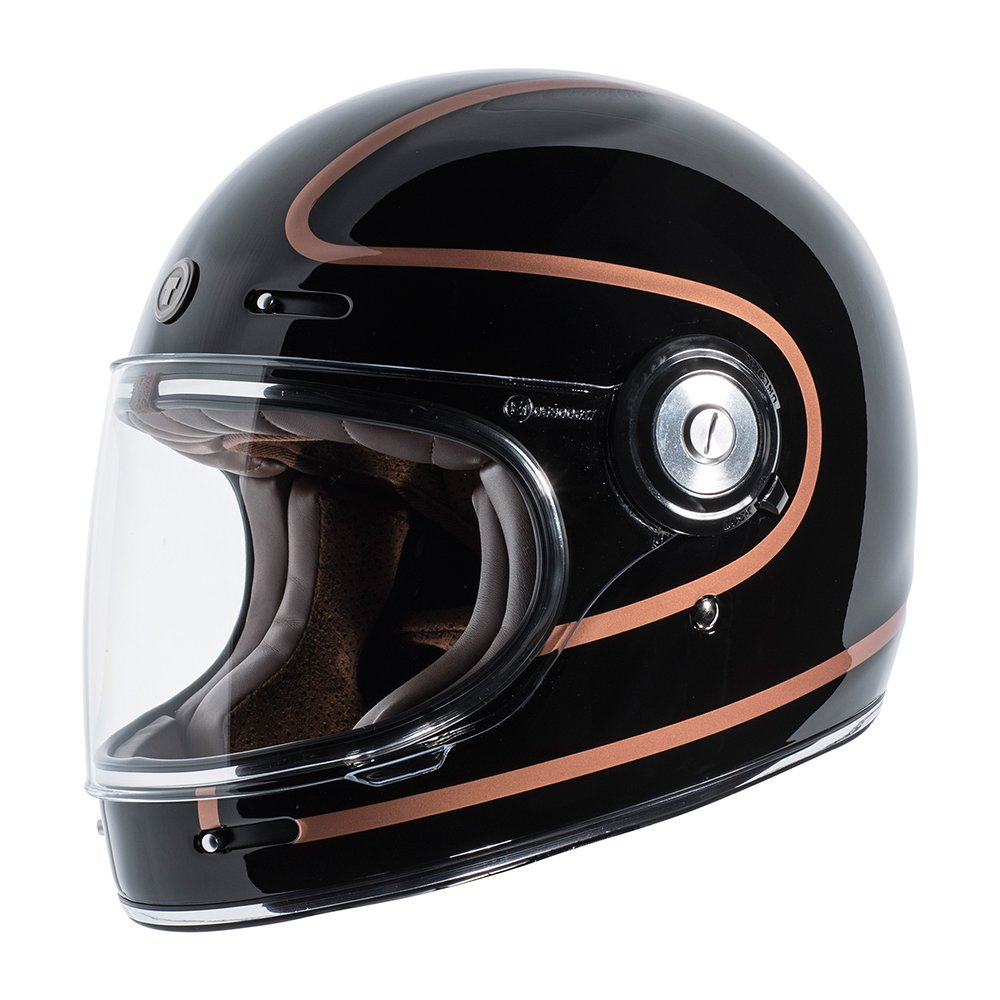 TORC Unisex-Adult T105COP24 Retro Fiberglass Full-Face Style Motorcycle Helmet with Graphic (Copper Pin Gloss Black, Large), 1 Pack