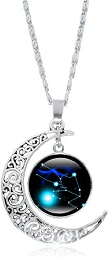 FLDC Dainty Crescent Half Moon 12 Constellation Zodiac Sign Astrology Horoscope Charm Chain Pendant Necklace Jewelry