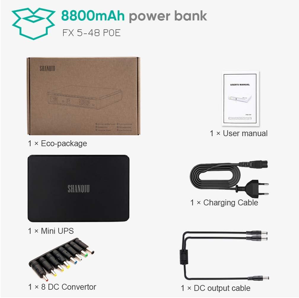 Mini Onduleur Back-UPS Alimentation sans Interruption pour Routeur Modem Smartphone avec en Batterie 8800mAH Entr/ée 12V CC ou 5V USB Sortie 5V 9V 12V 2A CC PSP