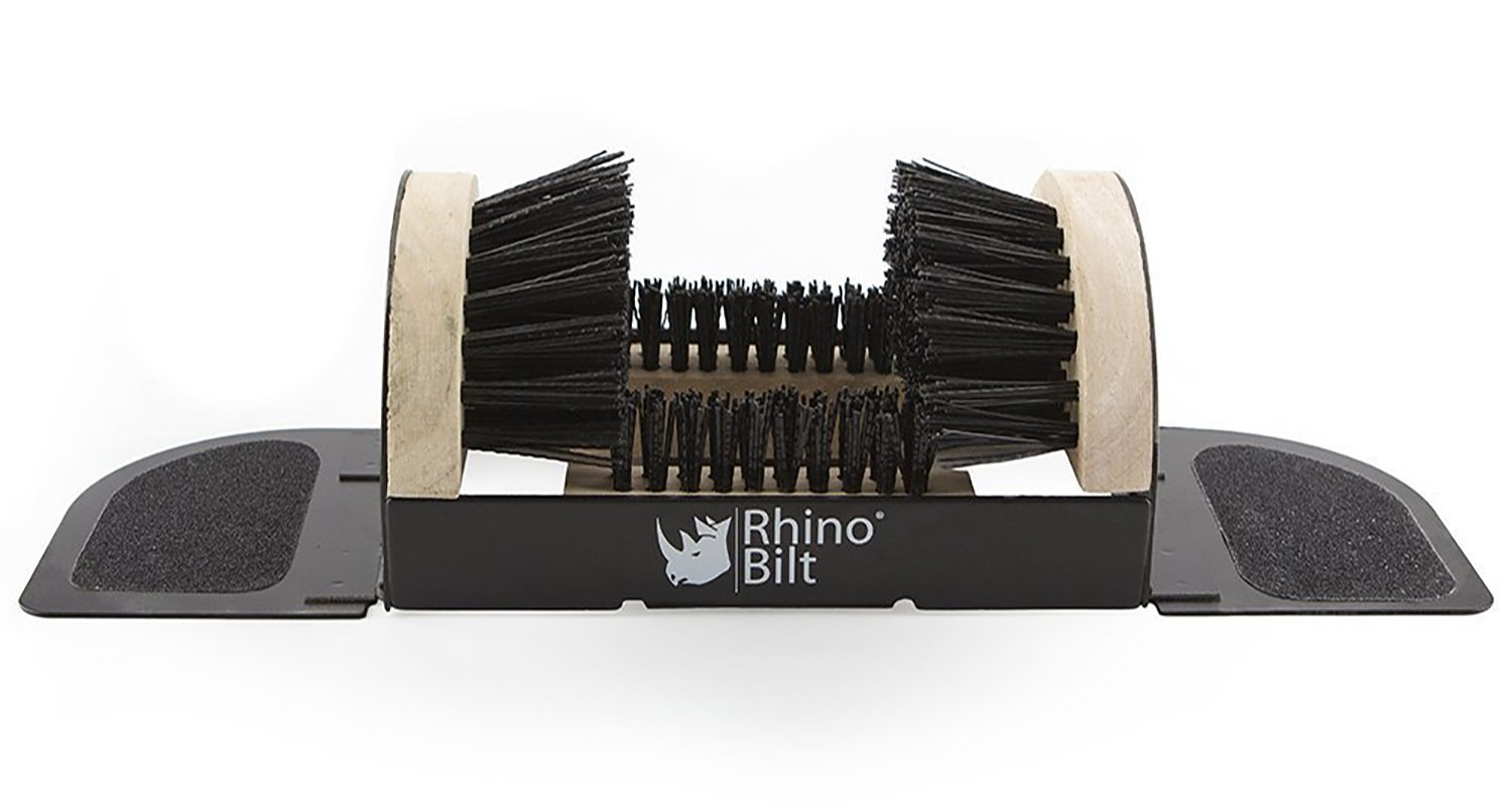 Rhino Bilt Folding Boot Scraper, the all-in-one scrubber, brush, scraper, and cleaner - No Mounting Required Indoor & Outdoor Use -Extremely easy to use for children & adults!