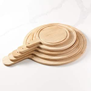 Pine Wood Japanese Style Pizza Tray Household Baking Grill Steak Steak Plate Bread Commercial Nordic Rectangular Plate Round