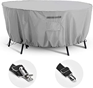 Outdoor Patio Furniture Covers, Waterproof Tear-Resistant Anti-Fading Cover for Outdoor Round Table Dining Set Cover, 72 inch Diameter(Included 2 Pack Cover Clamps)