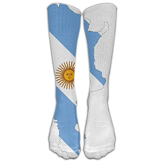 Flag Of Argentina Printed Crew Socks Warm Over Boots Stocking Trendy Warm Sports Socks