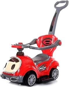 سيارة دفع الأطفال مع 3 في 1 الحواجز- احمر