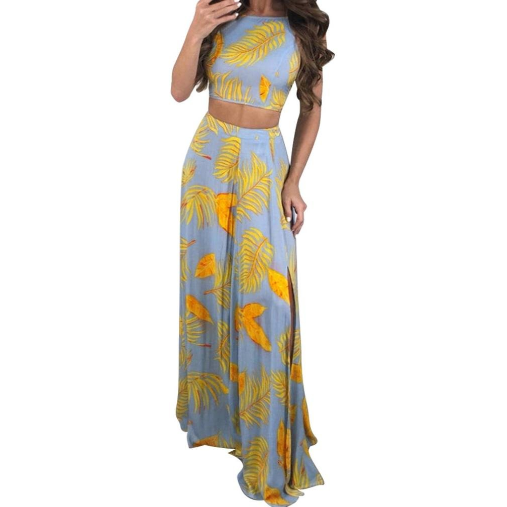 OldSch001 Ladies 2 Pcs New Strappy Leaf Printed High Split Tank Backless Long Dress (Yellow, L)