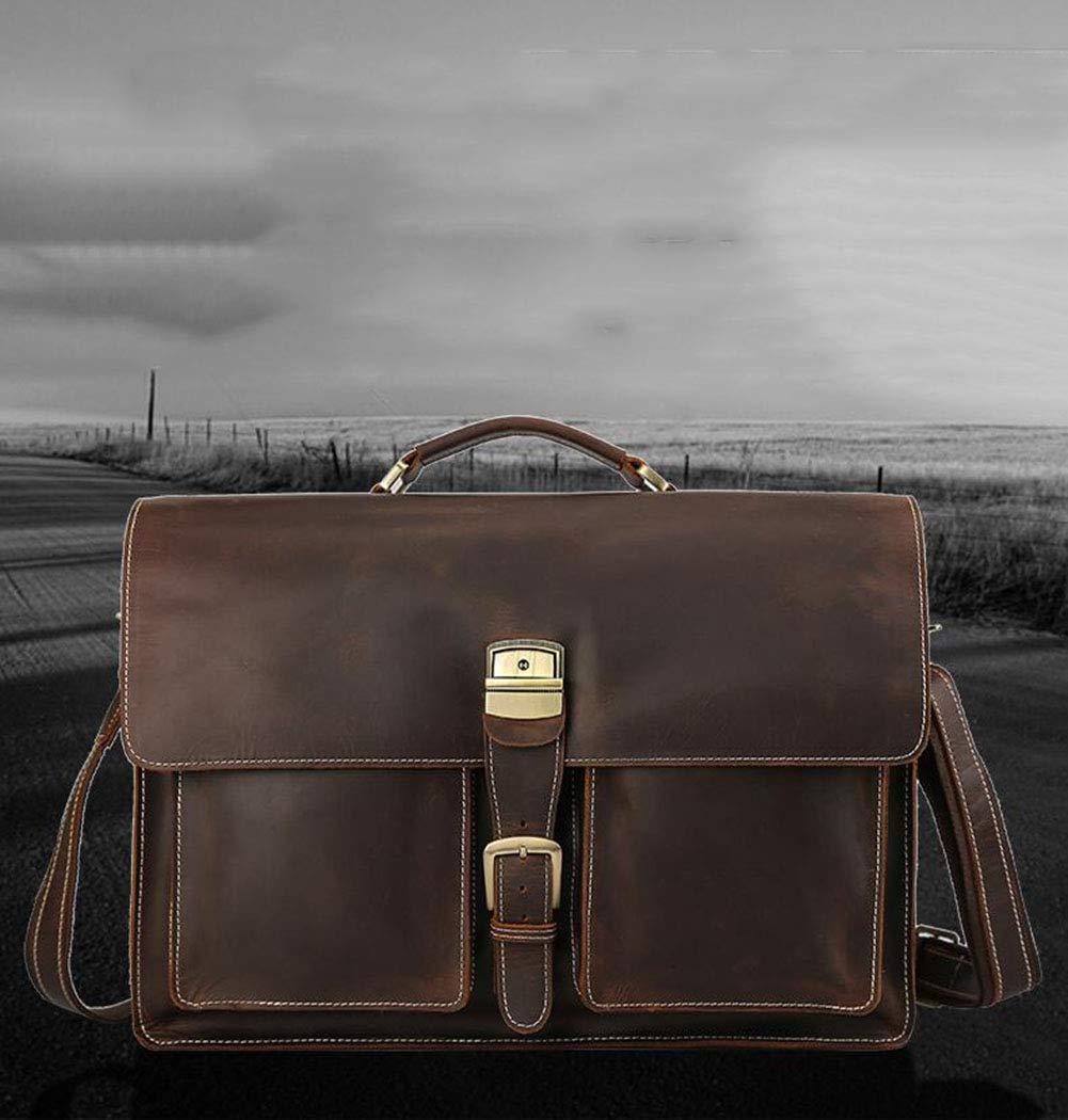 Xinyuan New Mens Casual Briefcase 17 Inch Laptop Bag Mens Crazy Horse Leather Shoulder Messenger Bag for Work Travel Dark Brown
