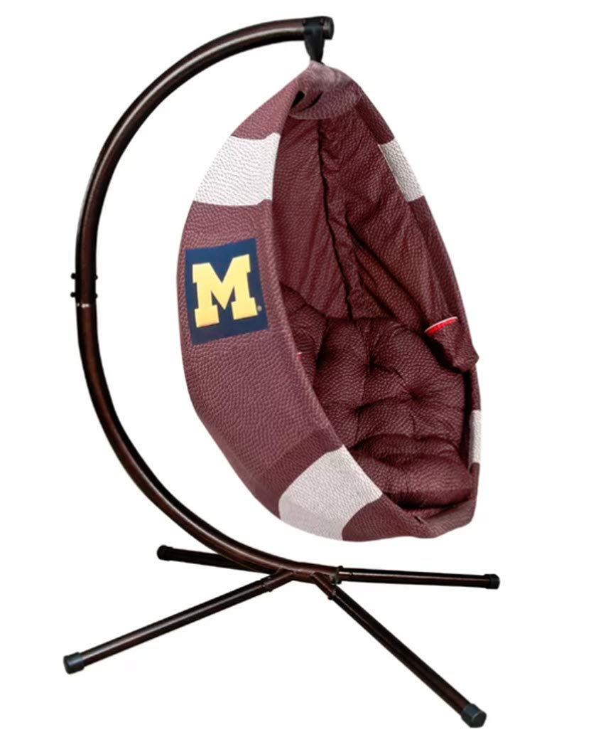Flower House College Football Hanging Egg Chair w/Stand (Michigan Wolverines)