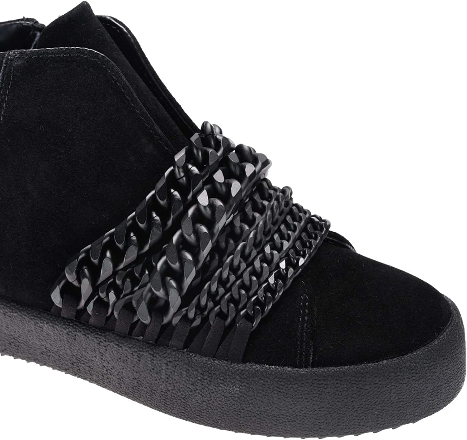 New Kendall and Kylie Black Shiny Duke Chain Link Sneakers