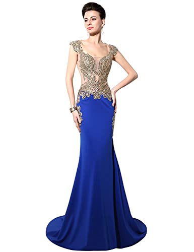 Sarahbridal Women's Mermaid Evening Dress Formal Long Prom Gowns YD003