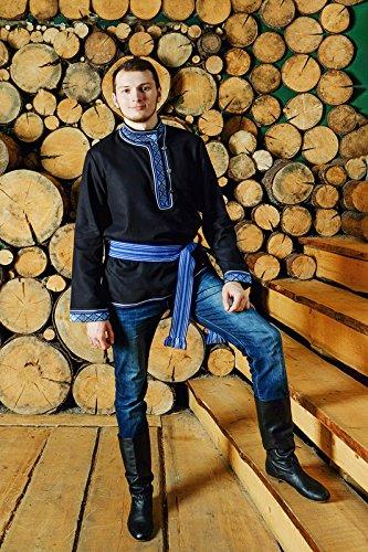 Russian shirt Cossack men traditional wear kosovorotka boho black outfit