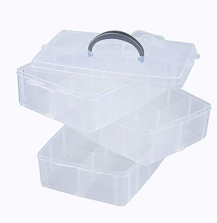 HPiano 3 Couches Boite de Rangement avec poign/ée de Transport Boite de Rangement /à 30 Compartiments pour Ranger Vos Affaires de Scrapbooking /& de Bricolage Box de Rangement en Plastique