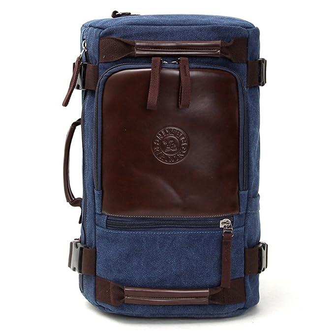 Minetom Lona Backpack Mochilas Escolares Mochila Escolar Casual Bolsa Viaje Moda Rectángulo Unisex Vertical Azul One