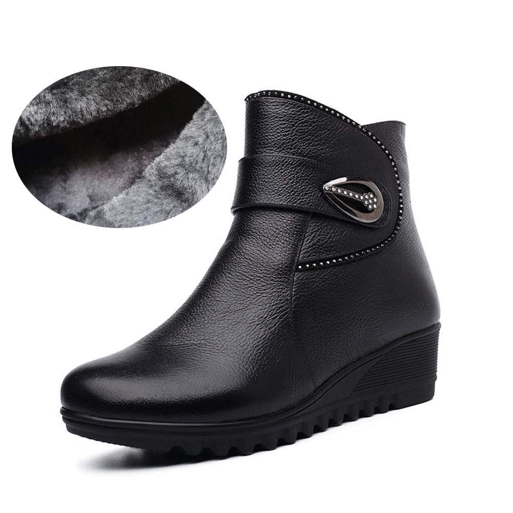 Exing Womens's Shoes 2018 New Winter Cotton Boots Leather Plus Velvet Middle-Aged Mother Cotton Shoes Warm Women's Booties