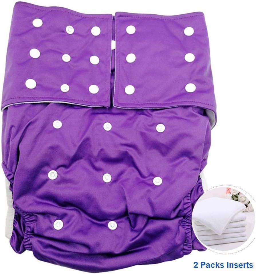 Pañales Adolescente Adulto Pañal De Bolsillo Cubrir Broche De Cierre Resistente A Las Manchas Reutilizable Lavable Hombres Pañales De Tela For El Cuidado De La Incontinencia Estera (Color : Purple) :