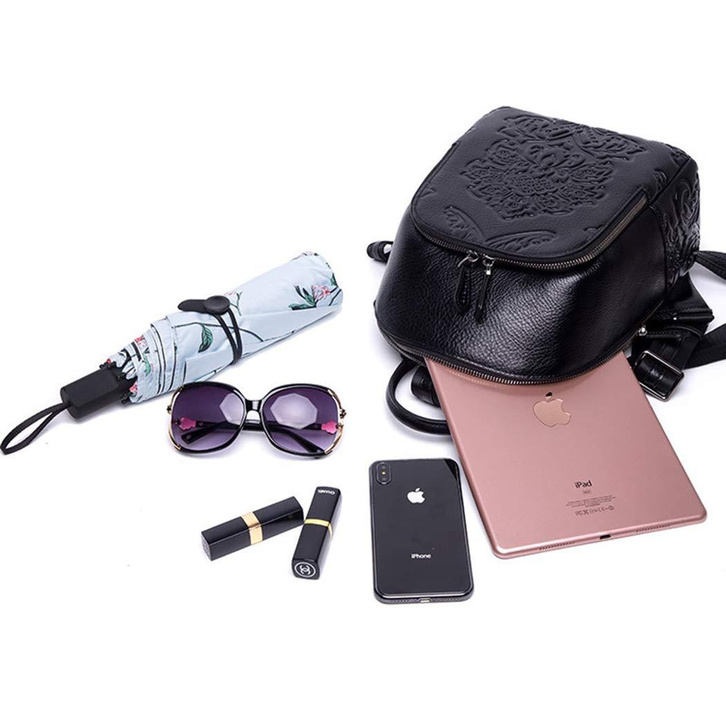 LXLX-väska dam läderhandväskor mode ryggsäck präglad studentväska läderryggsäck Svart