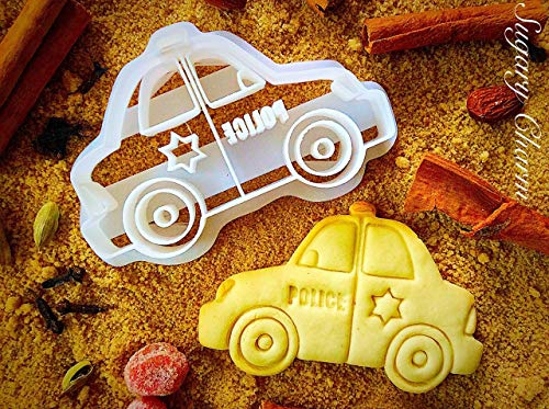 Police Car Cookie Cutter - 3d Shaped 911 Officer Retirement Cookies - Patriots Minnie Cutters Emboss for Kitchen Chiefs - Dough Mold Imprinted by Sugary Charm - Sugar Belle Thanksgiving Embossing
