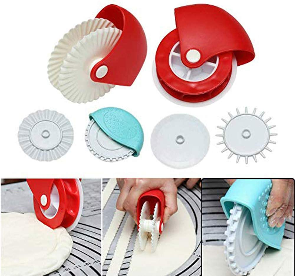 Pastry Wheel Cutter fundeal Pastry Wheel Decorator Beautiful Pie Crust Pastry Lattice Decoration Tools for Pies, Pasta, Puff Pastry or Fondant