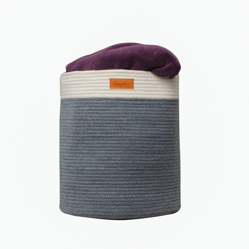 """Laundry Basket - Storage Hamper - Woven Cotton Rope with Handles - XL 16.5""""x 16.5"""" Baby Gift - Nursery Decor - Bin for Clothes, Toys, Towels, Blankets - Home Organizer - Decorative Jumbo Size"""