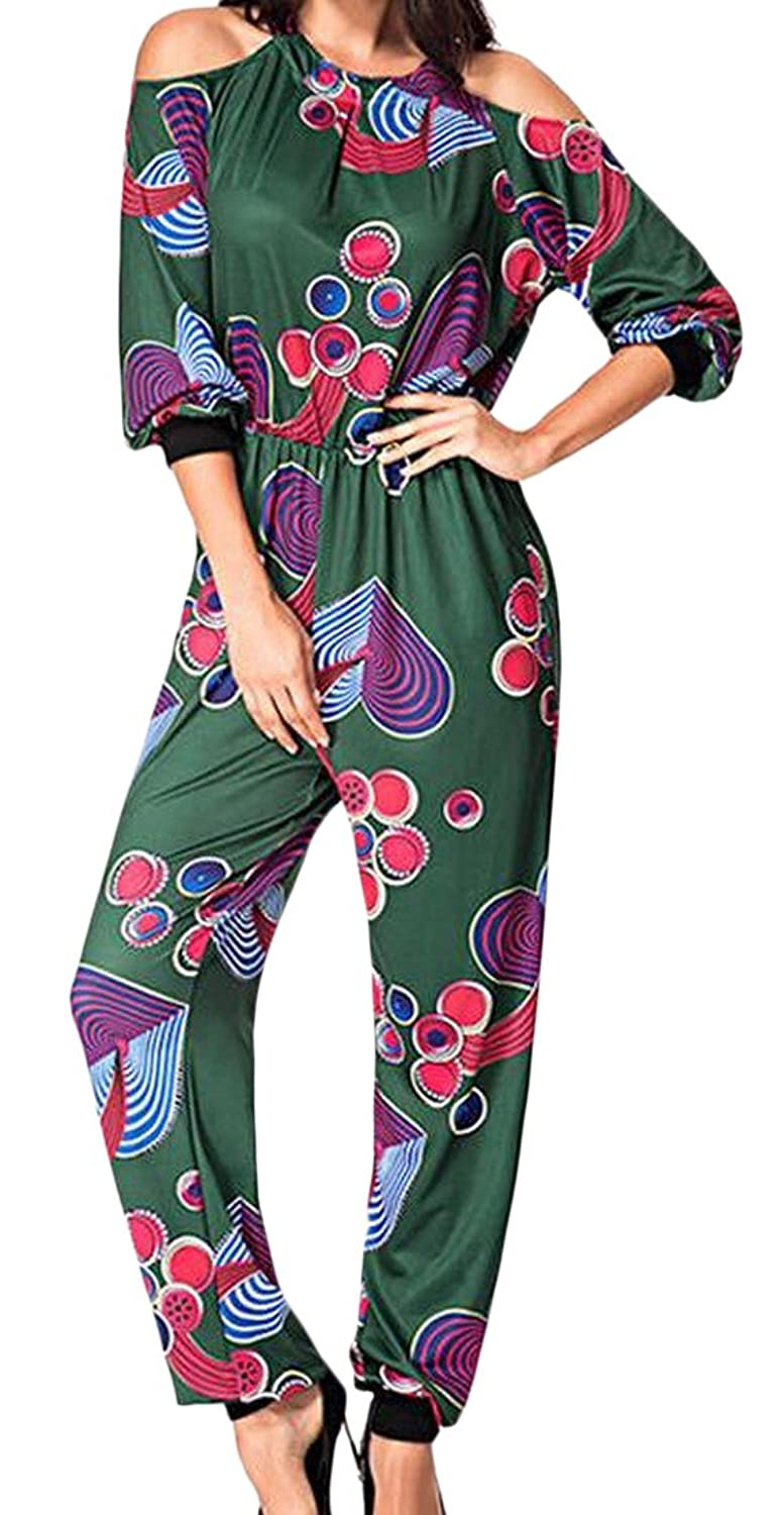 Honey GD Women's Floral Print Halter Long Sleeve Jumpsuits Rompers