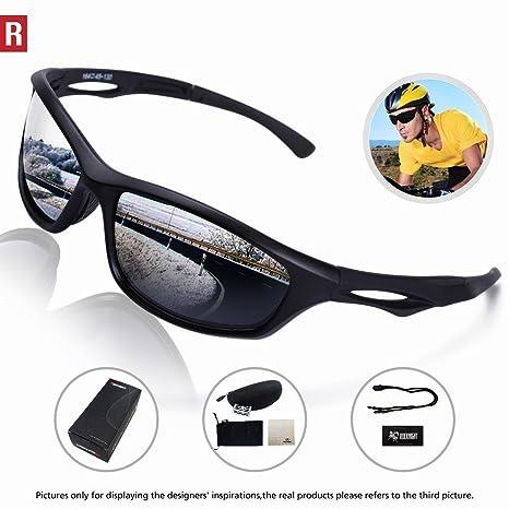 132cc50be2 Amazon.com   ROCKNIGHT Polarized Sports Sunglasses Cycling Glasses for Men  Women Driving Running Fishing Golf Baseball UV Protection 308 Black   Sports    ...