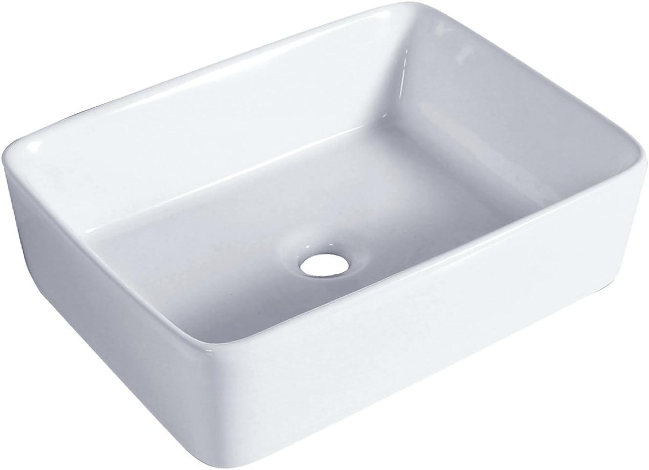 Lavabo Cuadrado de Cer/ámica de Ba/ño Blanco Lavabo sobre Encimera Moderno 480 x 380 x 130mm