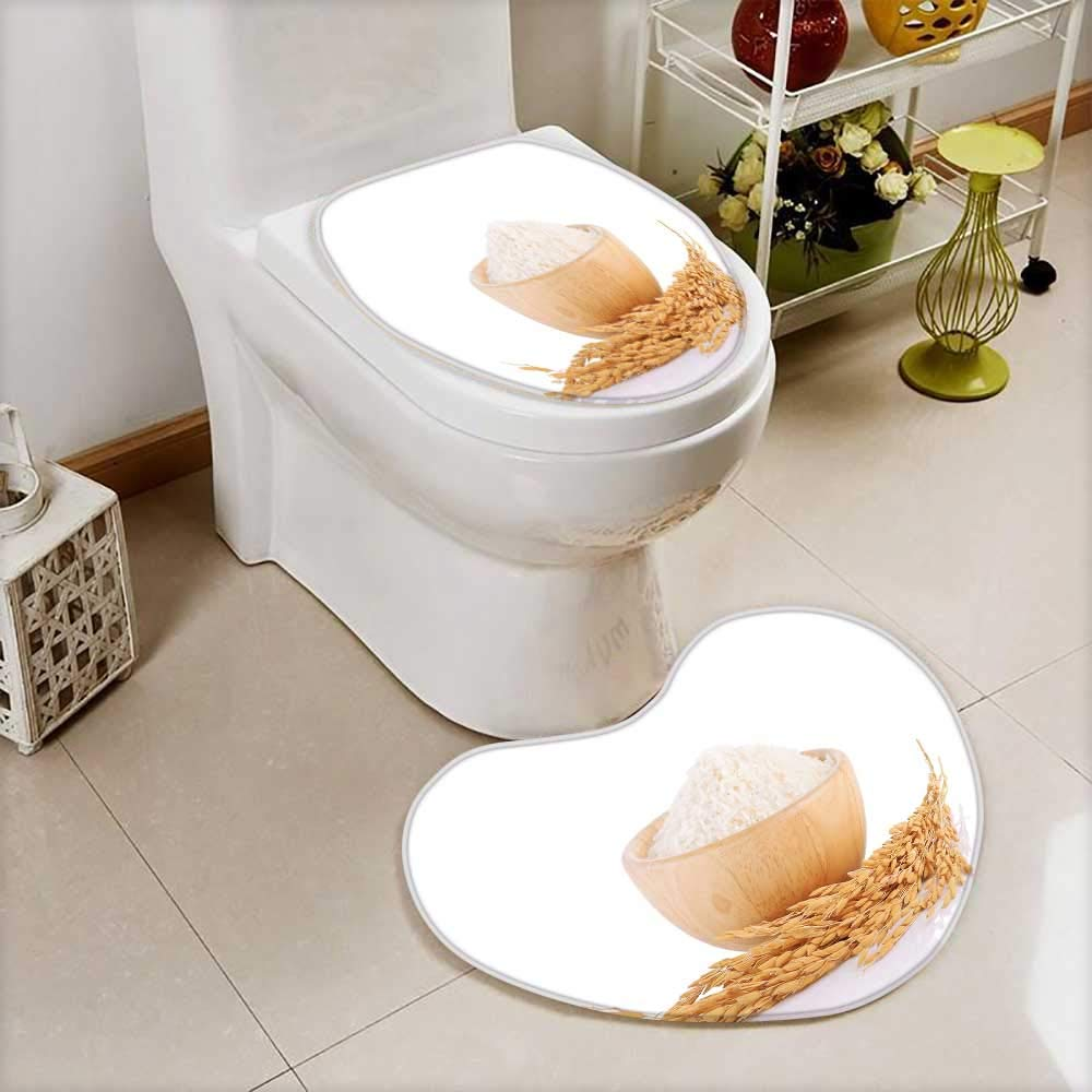 also easy Lid Toilet Cover rice plants grains of thai jasmine rice in wood bowl isolated Machine-Washable by also easy