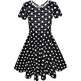 KS82 Girls Dress Black White Dot Back Cutout Back School Dress Size 5
