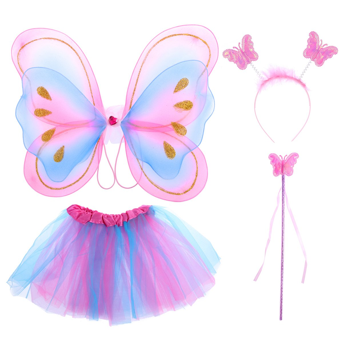 Tinksky 4pcs niños princesa de hadas mariposa ala varita diadema falda tutú fiesta traje de regalo de navidad