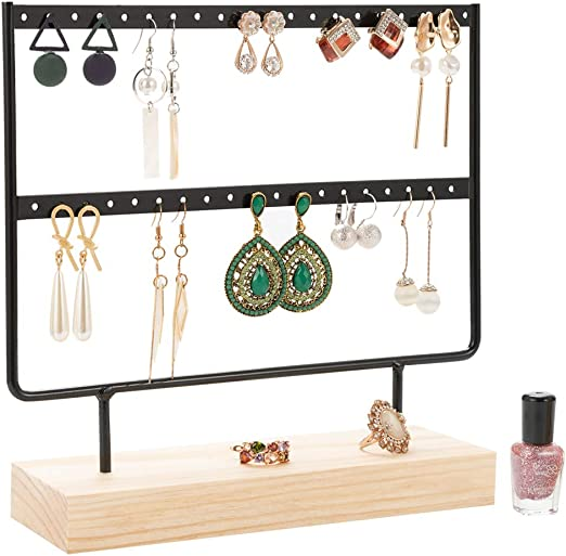 Amazon Com Earring Stand Earring Organizer Earring Display Stand Jewelry Tower Stand Jewelry Organizer Rack Jewelry Tree Earring Holder Ear Stud Earrings Organizer Stand With Wood Base 40 Holes 2 Layers Black